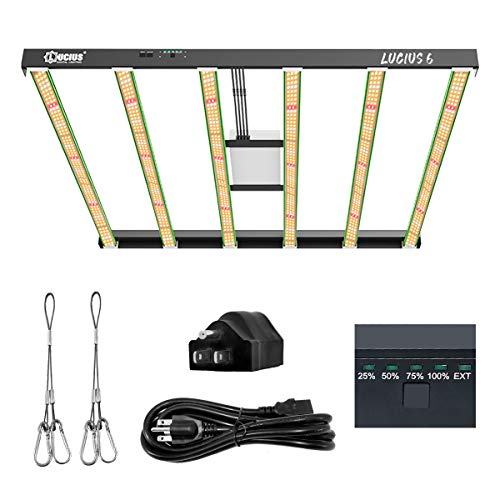 Lucius 600W LED Grow Light Fixture Hydroponic Controller Ready and Manual Dimmable ,Indoor Full Spectrum Horticulture Red Blue Lights for Greenhouse,Veg Bloom, 5x5,