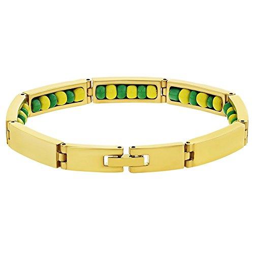 "In Season Jewelry Stainless Steel Gold Tone Green Yellow Santeria Babalawo Orula Bracelet 8"""