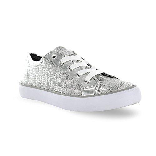 Gotta Flurt Disco II Lace Up Low Top Sneaker, Silver, 7.5