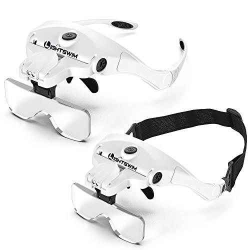 Lightswim LED-Kopflupe, wiederaufladbare Freisprech-Stirnband-Lupe mit 2 LED-Lupenhalterungen für professionelle Juweliere und Stirnband sind austauschbar