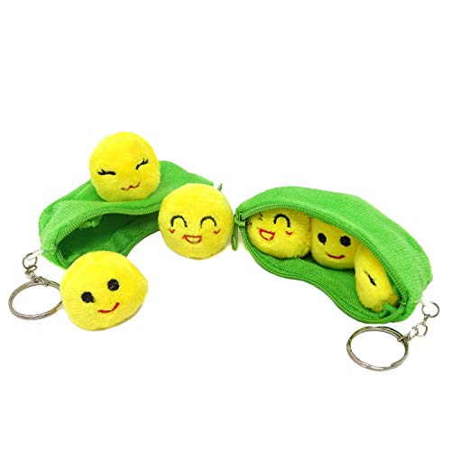 Honbay Creative Plush Keychains Mini Stuffed Toys - 3 Peas in a Pod - 4 Inch - 2 Set of Bean Bags with Cute Yellow Peas