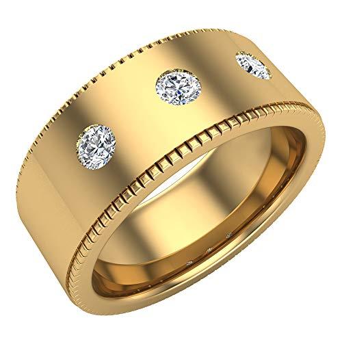 Glitz Design Mujer Hombre Niños Unisex 18 quilates oro amarillo redonda GH Diamond