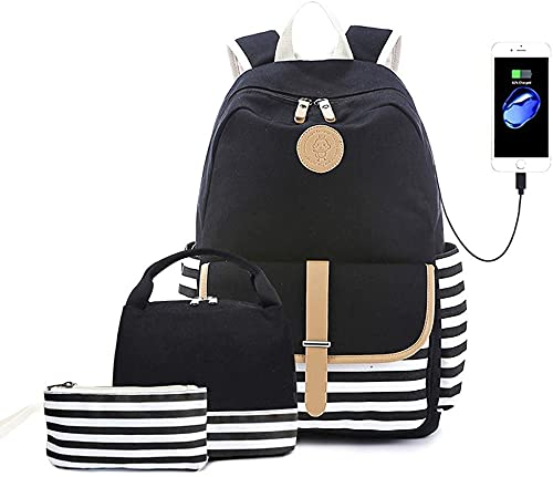laptop bags for teen girls Goodking School Backpack for Teen Girls Women with USB Charging Port, Lightweight College Bookbag Laptop Backpack with Insulated Lunch Bag and Pencil Bag 3 in 1 (Black)