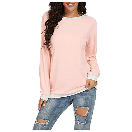 Purchase ThsiJJ Women's Tops Color Block Long Sleeve Casual Round Neck Pockets T Shirts Blouses Sw...
