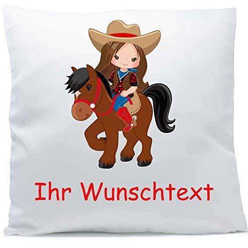 Kissen mit Namen Pferd Reiterin braune Haare 40x40 cm inkl. Füllung Kuschelkissen Wunschtext, Kissen Farbe:Vorderseite weiß/RS mokka