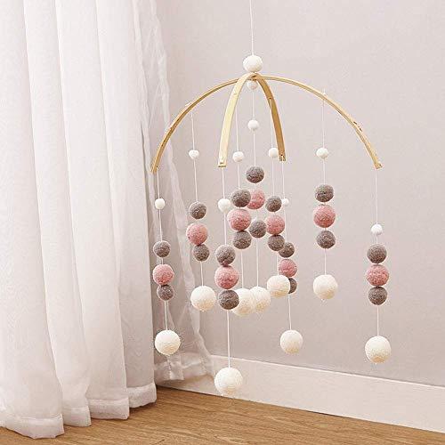 Babywiege Mobile Bett Glocke Babyrassel Spielsachen Hängende Perlen Ornamente Filz Ball Mobile Kinderzimmer Decke Mobile Wind Chimes Baby-Dusche Geschenk Wohndeko - Rosa Weiß Grau