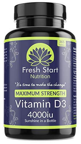 Vitamin D 4000 iu High Strength Vitamin D3 Immune Support Tablets - 1 Year Supply Vegetarian Tiny Vitamin D3 4000iu Pills - VIT D Supplement Cholecalciferol - Made in The UK by Fresh Start Nutrition