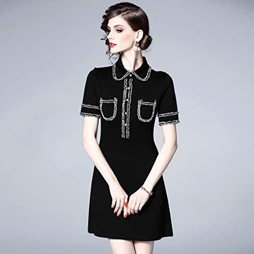 QUNLIANYI Femme Longue Robe Noire à Manches Courtes pour Femmes à la Mode en Mousseline de Soie Hepburn noir Dress