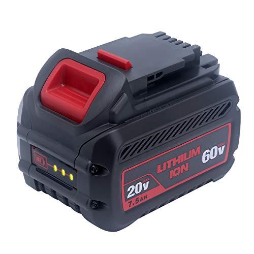 Elefly 7.5Ah DCB606 Battery Replacement for DeWalt 20V/60V Lithium Battery DCB606 DCB609 DCB612 DCB206 DCB205 DCB204, Compatible with DEWALT 20V/60V/120V MAX Cordless Power Tools