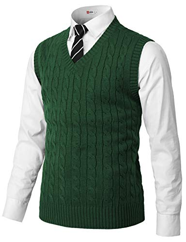 H2H Mens Casual Slim Fit Pullover Sweaters Knitted Vest Green US L/Asia XL (CMOV052)