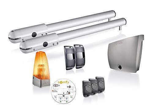 Somfy 1240630 - SGS Line , Kit motor puerta batiente , hasta 200Kg por hoja de 2m2 , Mandos, luz y fotocéluas incluidas