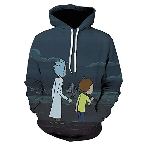 WANGZHUZHI Rick Hoodie Men S Cartoon Anime Sudadera con Capucha Hombres Y Mujeres Space Galaxy Hoodies Hombre Negro Streetwear Oversized-We-1690_S