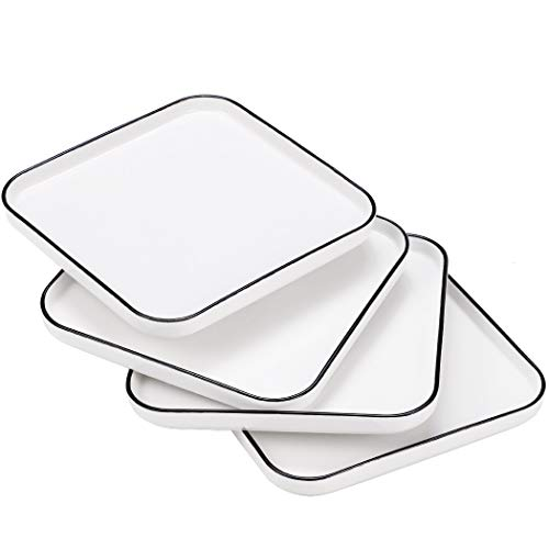 Hoxierence 8 Inch Ceramic Dinner Plates, Classic White Square with Black Line Edges Lunch Plate, Suitable for Steak, Appetizers, Pasta, Salad, Home, Party, Restaurant - Set of 4 (8 Inch)