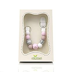 Modern Trendy Teething Beads Pacifier Clip Natural Baby Gift