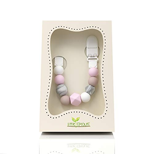 Little Sprouts Pacifier Clip | Modern & Trendy | 2 in 1 BPA Free Silicone Teether Beads with Unique Shapes – Best Pacifier Holder for Teether Toys, Stuffed Animals, Soothie/MAM & Drool Bibs for Girls