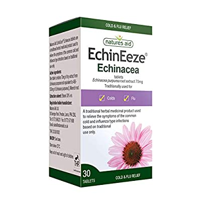 Natures Aid EchinEeze Echinacea, Relief of Symptoms of the Common Cold, Vegan, 30 Tablets