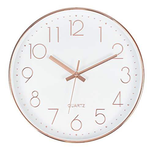 Tebery 12 Zoll (30cm) Rund Wanduhr groß ohne Tickgeräusche modern für Wohnzimmer Büro und Cafeteria(Rosegold, Mehr Rosa)