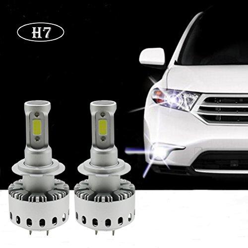 Ralbay 2* H7 LED Faro Bombillas Alquiler de Luces, LED Bombillas para Faros Delanteros Kit de Conversion Impermeable IP65 90W 12000LM 50.000 Horas Vida de la Bombilla, Blancoa