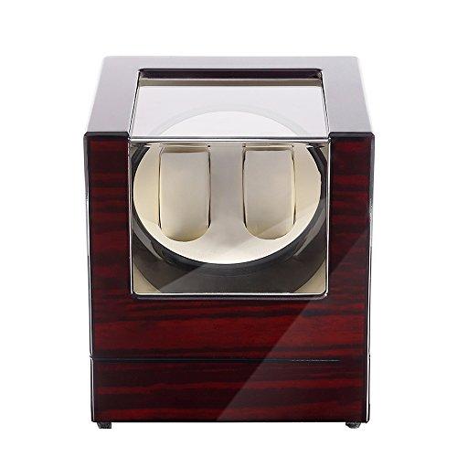 Uten watch winder Scatola orologio a carica automatica in legno per 2 orologi da polso
