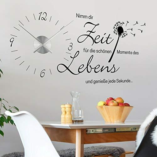 tjapalo® v3 Wanduhr Küche Uhr mit Uhrwerk Wandtattoo nimm dir Zeit für die schönen Momente wandtattoo Wohnzimmer spruch zitate, Größe: B120xH58cm, Schwarz