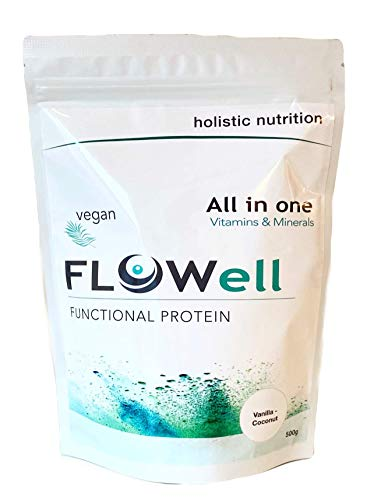 FLOWell Vegan Protein Powder with Advanced Vitamin and Mineral Formula, Omega 3, Probiotics, BCAA & Digestive Enzymes | Pea and Organic Brown Rice Protein Isolate | All in One (Vanilla-Coconut, 500g)
