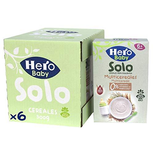 Hero Solo Baby - Papilla de Multicereales Ecológica sin Azúcares Añadidos, para Bebés a Partir de los 6 Meses - Pack de 6 x 300 g