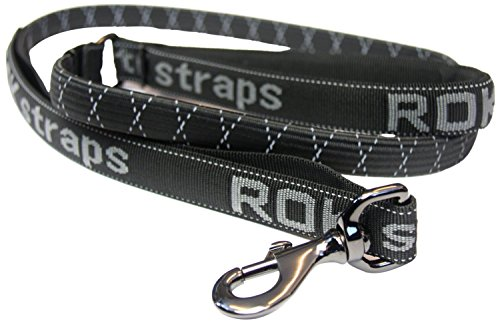ROK Riem Hond Lead, Groot, 54-Inch, Zwart met Reflecterende Detail