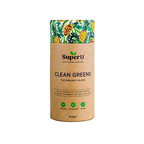 Super U Clean Greens - Organic Greens Powder for Energy and Immunity. Contains 8 Superfoods and nothing else. Great taste with added Pineapple, Baobab and Camu Camu Berry!