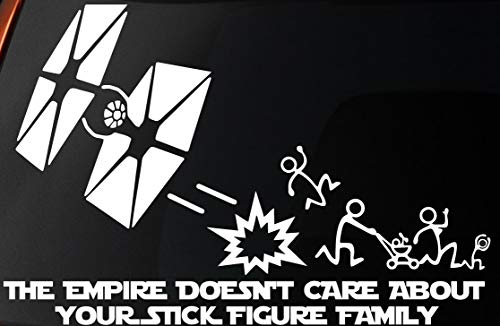 SW The Empire Doesn't Care About Your Stick Figure Family Tie Fighter Car Window Wall Laptop Sticker Decal | White | 8.5'