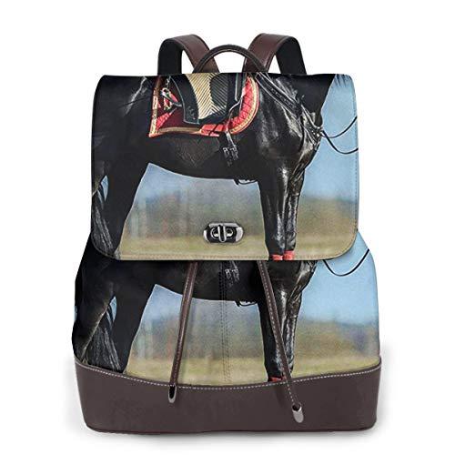 SGSKJ Rucksack Damen Schwarzes andalusisches Pferd, Leder Rucksack Damen 13 Inch Laptop Rucksack Frauen Leder Schultasche Casual Daypack Schulrucksäcke Tasche Schulranzen