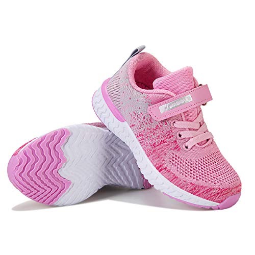 Zapatillas de Deporte para Niñas Zapatillas de Correr Zapatos para Caminar al Aire Libre(YF64-Rosado 27EU)