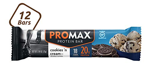 Promax Protein Bar, 20g High Protein, No Artificial Ingredients, Cookies And Cream, 12 Count