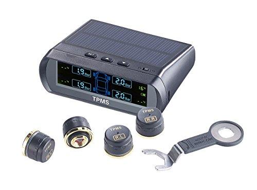 Lescars Reifendruckkontrolle: Kabelloses Reifendruck-Kontrollsystem mit Funk-Sensoren, Solar-Betrieb (RDKS)