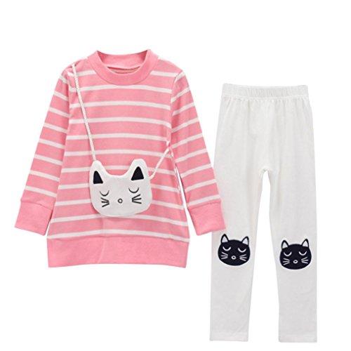 JERFER 2pcs Gestreifte Comic-Katze Outfit Set Herbst Frühling Bekleidungsset Nette Baby Kind Kleidung Langarm Shirt Tops Bluse + Hose Leggings für 4-8 Jähriges Mädchen (Rosa, 5T)