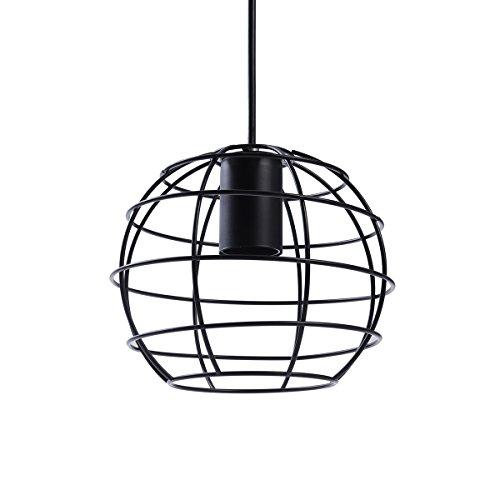 LEDMOMO Deckenleuchte, Vintage Industrie Eisen Pendelleuchte Lampe Polygon Draht hängende Deckenleuchte (schwarz)