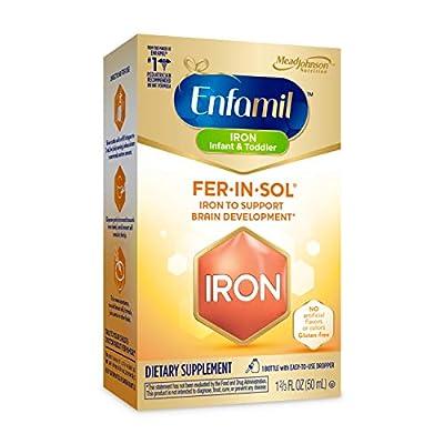 Enfamil Fer-In-Sol Iron Supplement Drops for Infants & Toddlers, Supports Brain Development, 50 mL Dropper Bottle
