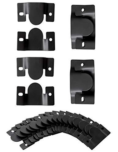IPEA 20 Ganchos de conexión para sofás y Muebles – 10 Pares de Ganchos – Soporte de Metal para Marcos de Fotos y Espejos de Pared, Color Negro, 90 x 50 mm