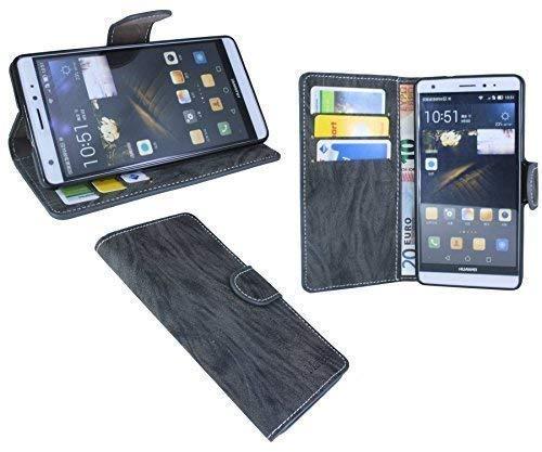 Huawei Ascend Mate S Buchtasche Hülle Case Tasche Wallet BookStyle mit STANDFUNKTION Anthrazit @ Energmix