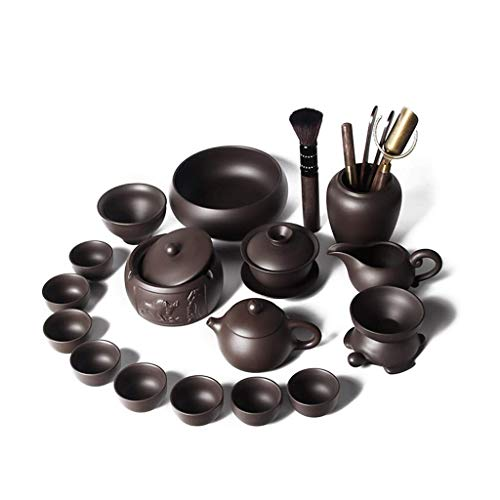 WYZQ Juego de té de Kung Fu, Tetera Hecha a Mano, Juego de Tazas de Tetera de Arcilla púrpura, Regalo de Ceremonia de té Chino de cerámica Zisha, vajilla