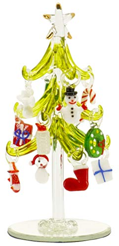 6 Inch Mini Glass Christmas Tree Tabletop Decoration with Colorful Removable Ornaments — Stocking & Presents