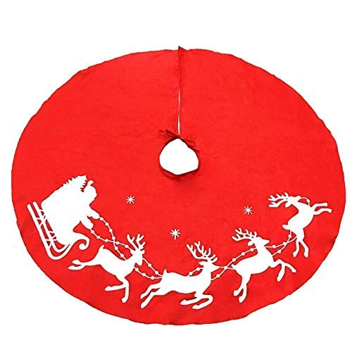 NLRHH 1 stücke Schöne rote Weihnachtsbaum Rock Schlitten Rentier und Schneeflocken 39.5in Cover Base auf Baumabdeckung Dekor (Baumrock Durchmesser: 100 cm) Peng