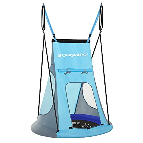 SONGMICS Saucer Tree Swing Tent for Kids Outdoor, 40 Inch, 700 lb Load, Hanging Kit Included, Detachable, Blue and Black UGSW002Q01