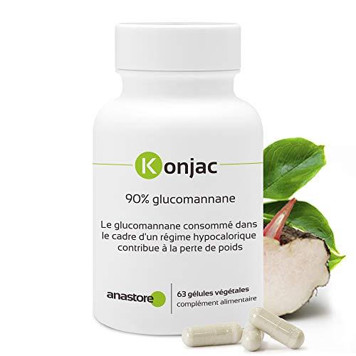 KONJAC *Titulado al 90% en glucomanano* Excelente reductor natural del apetito * favorece el tránsito intestinal * 63 cápsulas vegetales/371mg* Fabricado en Bélgica* Calidad Certificada por Certificado de Análisis