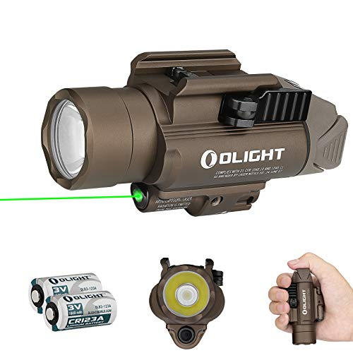 Olight Baldr Pro 1350 Lumens Tactical Flashlight,with Green Light and White LED,Compatible with 1913 or GL Rail, Powered by 2 CR123A Batteries,with SKYBEN Battery Box (Desert Tan)