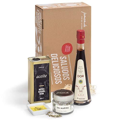 Geschenkkorb Mediterran genießen - Natives Olivenöl Extra, Balsamico-Essig und Meersalz mit mediterranen Kräutern