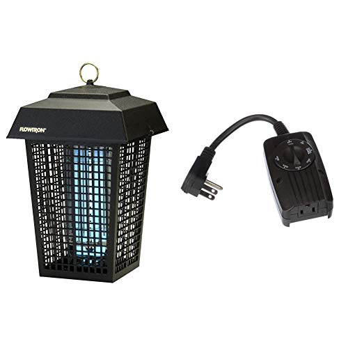 Flowtron BK-40D Electronic Insect Killer, 1 Acre Coverage,Black & Woods 2001 Outdoor 24 Photocell Light Sensor, 6-Inch Cord, 1 Grounded Outlet, Weatherproof Timer with 2, 4, 6 or 8 Hours Mode, Black