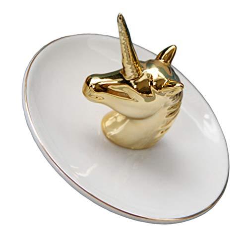 Garneck Soporte de Anillo de Cerámica Unicornio Placa de Joyería de Cerámica Bandeja Organizadora de Exhibición de Joyas para Collar Pendientes Organizador Cumpleaños Regalo de Boda