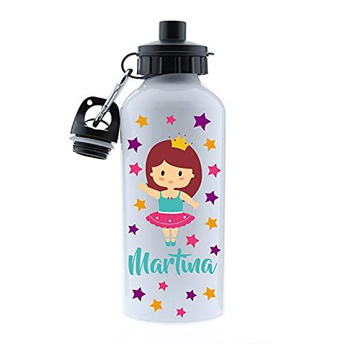 Kembilove Botella de Agua Niños Personalizada con Nombre – Cantimplora Infantil Acero Inoxidable – Regalos Infantiles Personalizados – Botellas Térmicas de 500 ml – Diseño Bailarina
