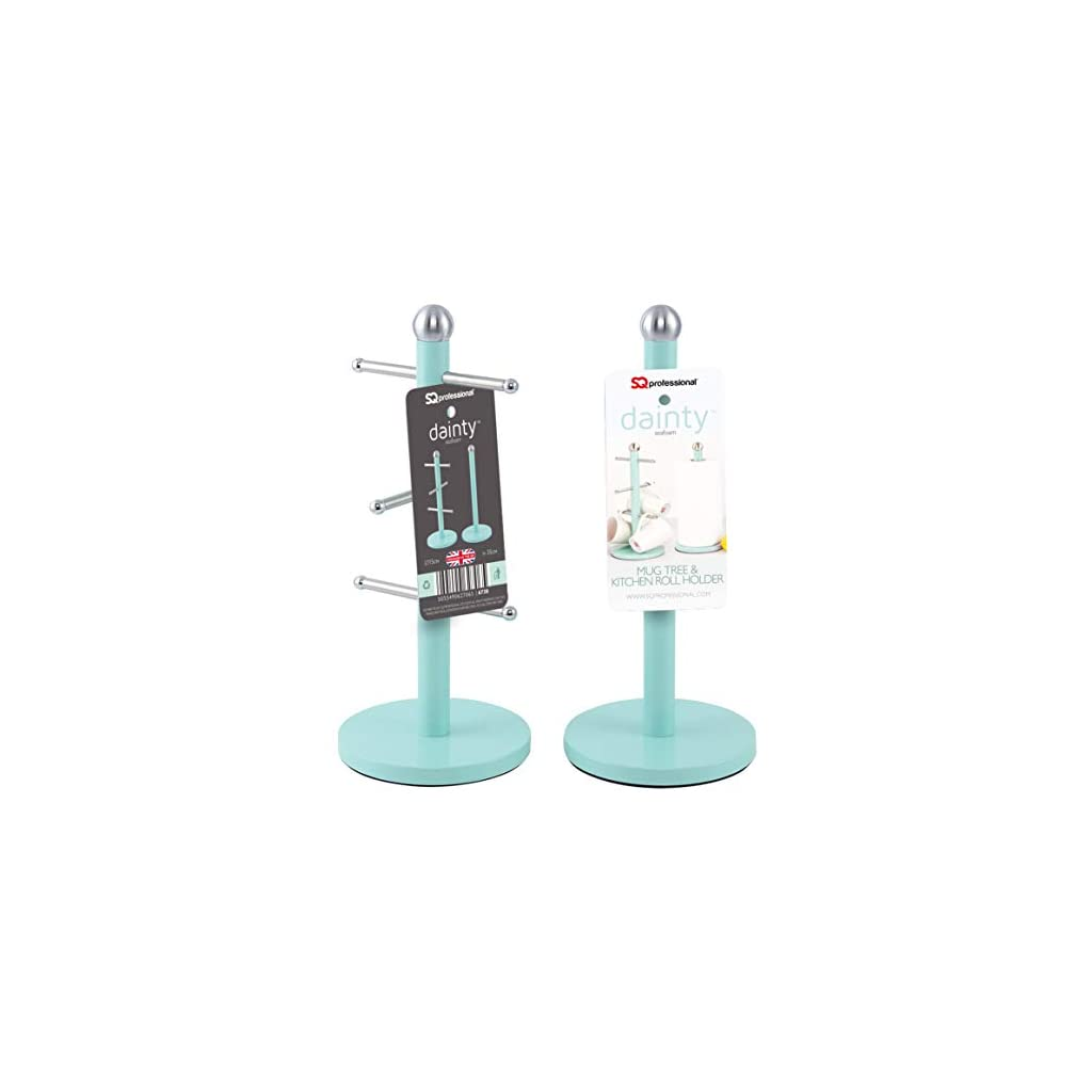 SQ Professional Mug Tree and Kitchen Roll Holder Set - Mint Green