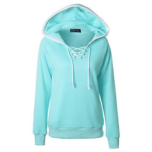 MRULIC Damen Neue Winter Herbst Sweatshirt Hoodie Kapuzenpullover Jumper Pullover Tops Mantel(Hellblau,EU-46/CN-4XL)